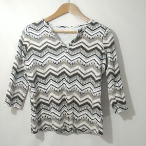 Kim Rogers Shirt Small Chevron